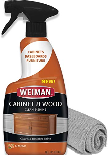Weiman Wood Cleaner and Furniture Polish Spray - 16 Fluid Ounce (Microfiber Cloth)