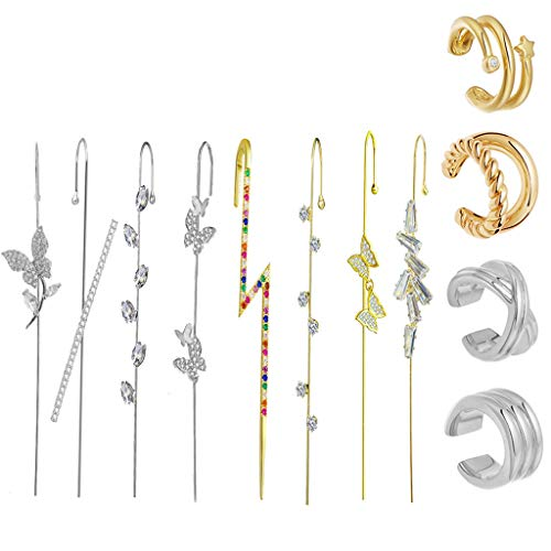 S-TROUBLE Golden Ear Cuff Wrap Kit de Pendientes de Gancho de Oruga Pendientes de botón de perforación de Diamantes de imitación