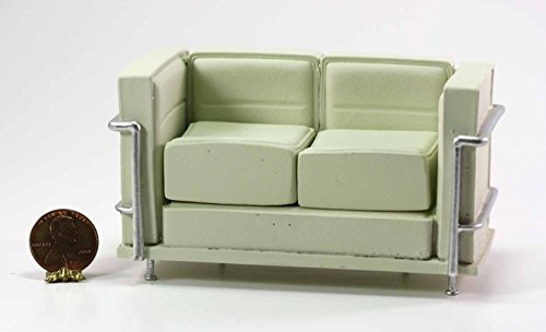 Dollhouse Miniature Le Corbusier Sofa in Cream with Removable Cushions