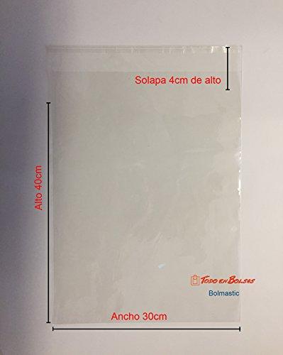 100 Bolsas de Polipropileno con Solapa Adhesiva de 30 cm x 40 cm