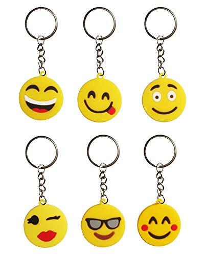 41ZaMBWOgNL - BESTZY 30 Pcs Mini Emoji Llavero Emoji Encantadora Emoticon Llavero Llavero Emoji de Cara Redonda Decoración de Bolsos…