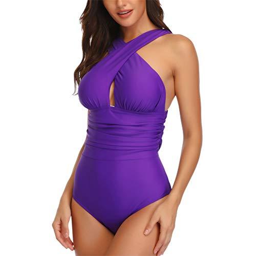 Demarkt Badpak voor dames, met V-hals, rugvrij, eendelig zwempak, buikweg cutouts, kruis, badmode