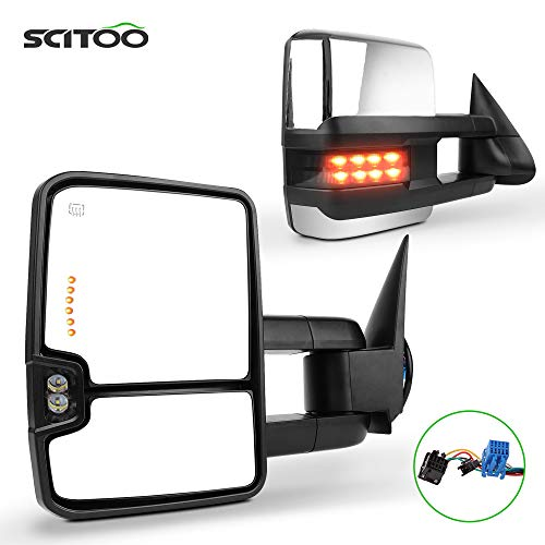 SCITOO for Chevy Towing Mirrors GMC Power Heated LED Signal Reverse Light Tow Mirrors fit 2003-2006 for Chevy Silverado/GMC Sierra/Cadillac Escalade 2007 for Chevy Silverado/GMC Sierra Classic Model