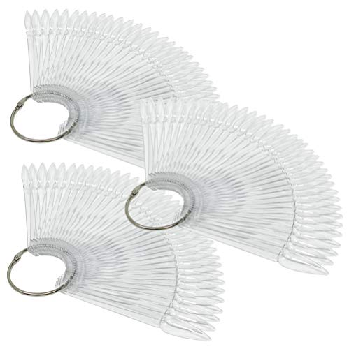 3 Stück Set - Tipfächer Stiletto mit 36 Präsentations-Stäbchen und Metallring - NAILFUN Tip Sticks Fächer Display Nail Art Tips (transparent)