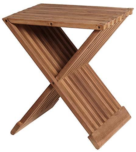 Mr. Deko Teak Beistelltisch Fishbone - Teak - Tisch - Gartentisch - Outdoormöbel - Teakholz - für Balkon, Terrasse, Wintergarten, Garten