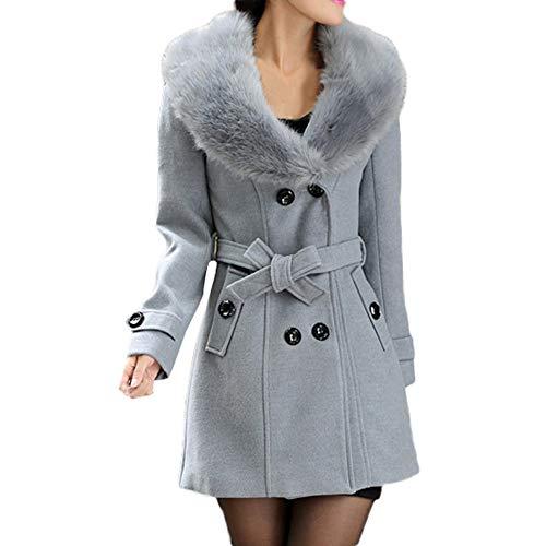 cappotto donna offerta Homebaby Cappotto Donna Invernale in Lana Vintage Offerta Elegante Caldo Taglie Forti Giacca con Collo di Pelliccia Autunnale Cappotto Classico Giubbotto Outwear