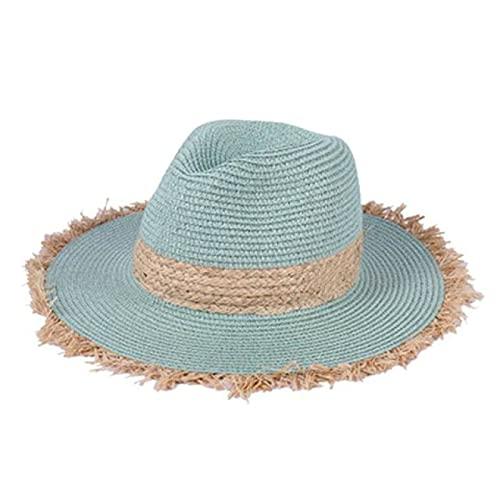 SIMEISM Sombreros de sol de verano sombrero de paja casual sombreros de sol para mujeres moda sombra protección solar para playa paja mujeres sombreros de sol azul