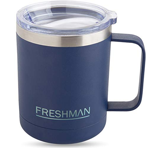 FRESHMAN aryo | Doppelwandiger Edelstahl Trinkbecher mit Deckel 350ml Kaffeebecher to go Thermo Coffee to go Becher Thermobecher Kaffee to go Becher Kaffee Thermotasse Thermosbecher Kaffeetasse