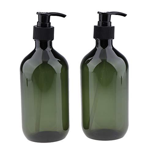 FLAMEER 2 Stück 500ml Nachfüllbar Pumpspender Cremespender Pumpflasche Sprühflasche für Creme Lotion Shampoos, Flüssigseifen usw, Große Kapazität - Grün