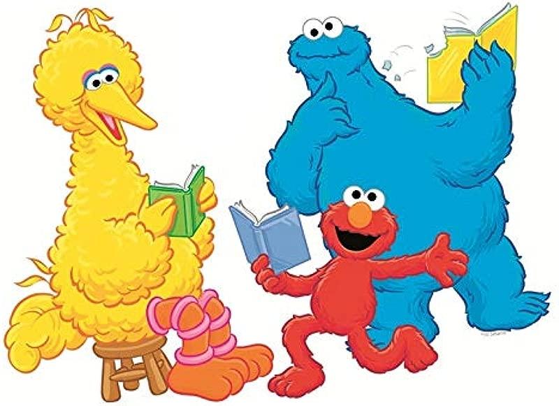 9 Inch Big Bird Elmo Cookie Monster Decal Book Reading Read Books Sesame Street Removable Wall Sticker Peel Self Stick Adhesive Art Home Kids Room Decor Vinyl Decoration Nursery Boys Girls 9 By 6 Inch