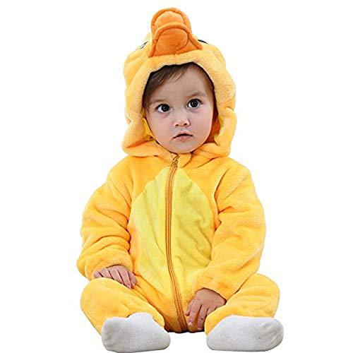 J2L Fasching Karneval Kostüm Klein Kinder Verkleidung Flanell Party Baby Tiere Prinzessin Fotoshooting Babyshooting (Ente, 70 (Alter 2-5 Monate))