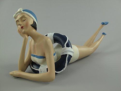 TD Badefigur Betty liegende Frau mit Rettungsring 31x12 cm Badezimmer Deko im Retro Stil