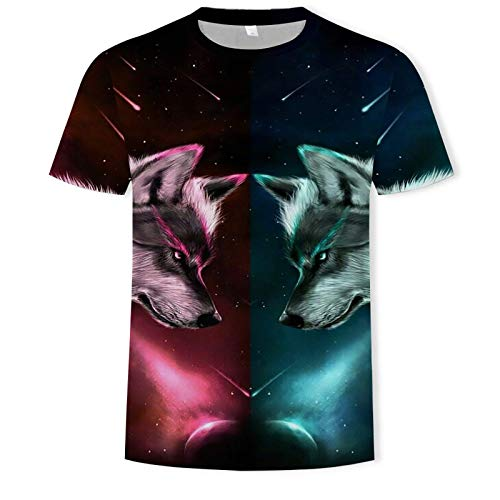Mens Summer 3D Digital Printing Wolf T-Shirt,Unisex 3D Funny Printed T-Shirt,Round Neck Slim Fit Motif Tops,New Fashion Streetwear Men T-Shirts Tops,Breathable and Quick-Drying Sports T-Shirt