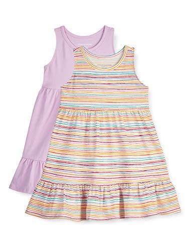 Amazon Essentials Paquete de 2 Vestidos de algodón para niñas Playwear-Dresses, Raya arcoíris, EU 134-140 CM