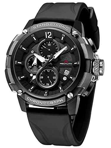 MEGALITH Orologio Uomo Militare Sportivo Cronografo Nero Orologi da Polso Quadrante Grande...