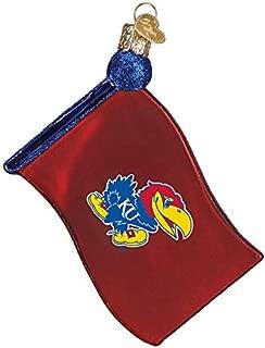 Old World Christmas University of Kansas Flag Glass Blown Ornament