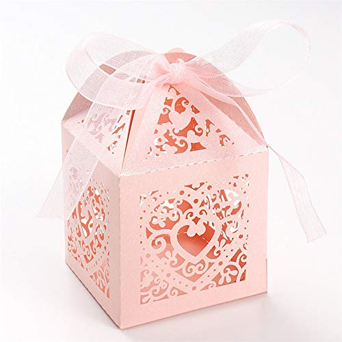 unho 25 Pack Love Heart Favor Box, Luxury Paper Laser Cut Candy Chocolate Bags with Ribbons for Bridal Shower, Anniversary, Wedding Bombonniere, Party Favor(Candy Boxes, 2' x 2' x 3' Pink)