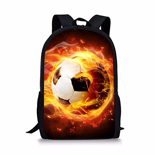FOR U DESIGNS Cool Fire Soccer Printed Boys School Backpack Casual Rucksack
