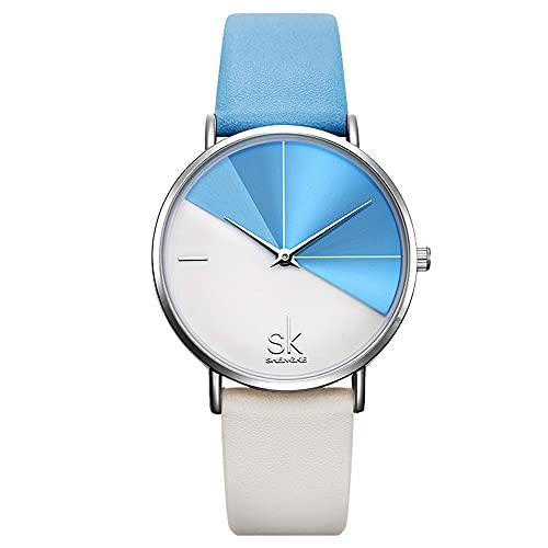KLFJFD Señoras Temperamento Simple De Dos Colores Creativo Dial Cinturón Impermeable Reloj De Cuarzo Estudiante Moda Casual Regalo Reloj De Moda