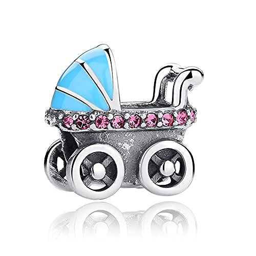 LIIHVYI Pandora Charms para Mujeres Cuentas Plata De Ley 925 Colección Cochecito De Bebé Blue Car Compatible con Pulseras Europeos Collars