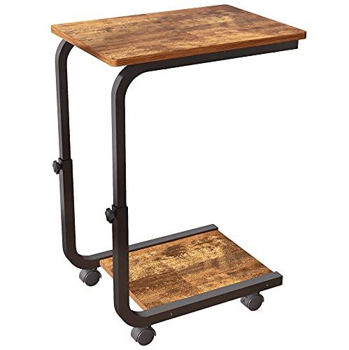 JOISCOPE Beistelltische mit Rädern, bewegliche Tische im Industrie Design, geeignet für kleine Räume, Wohnheim,Schlafzimmer,Wohnzimmer, Büro (Retro Eichenoberfläche)