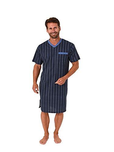 Trend by Normann Herren Nachthemd Kurzarm in eleganter Streifenoptik 62701, Größe2:50, Farbe:hellblau