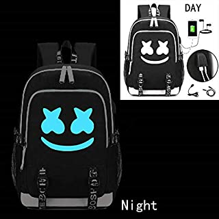 Marshmallow Backpack Luminous DJ Marshmello with USB Charging Port, Unisex Fashion Travel Laptop Backpack … (Blue luminous)