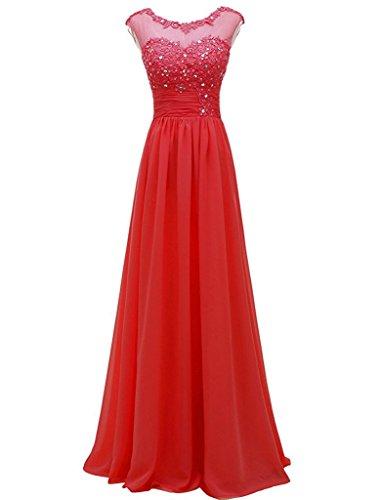 Beyonddress Damen Abendkleider Lange Elegant Brautjungfernkleider Appliques Cocktailkleider(Rot,50)