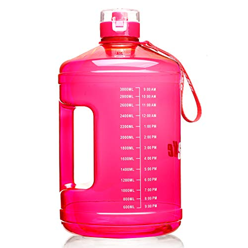 SLUXKE 1 Gallon Water Bottle Portable Water Jug Fitness Sports Daily Water Bottle with Motivational Time Marker,Leak-Proof, Wide Mouth, BPA Free Water Bottles for Sports Gym Fitness Work
