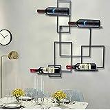 Portabottiglie da parete in metallo nero per 4 bottiglie di vino da appendere, decorazione perfetta da parete, portabottiglie di vino