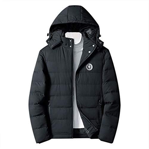 Heetey - Abrigo de Invierno para Hombre de Estilo Informal con Capucha, cálido Abrigo de algodón con Pelo de Cordero, con botón Suelto Negro L