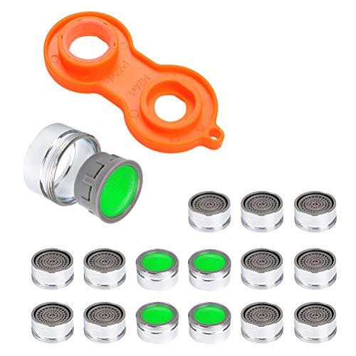 FOCCTS Juego de 16 piezas Rompigetto para grifos con roscas externas M22-M24 y llave para instalar aireadores para la cocina Grifo para baño Rompigetto Grifo de la cocina para ahorrar agua
