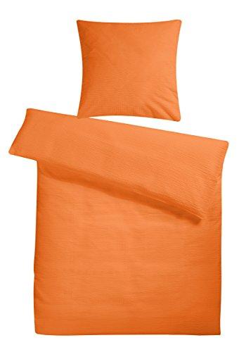 Carpe Sonno Seersucker Bettwäsche 155x220 cm Orange – atmungsaktive kühle Sommerbettwäsche Übergröße - Bettdecken und Kopfkissenbezug 80x80 cm aus Reiner Baumwolle mit Reißverschluss – Set 2teilig
