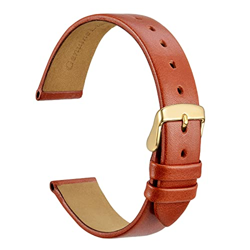 WOCCI 14mm Bracelet de Montre élégant pour Femme avec Boucle en Or (Marron Terre Cuite)