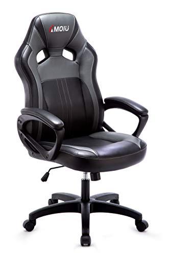 Amoiu Gaming Stuhl, Ergonomischer Bürostuhl Sportsitz, Schreibtischstuhl mit Dicker Rückenlehne und Armlehnen, Schwarz