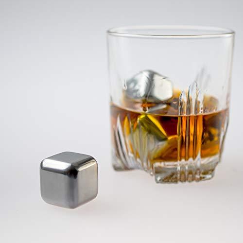 KOBERT GOODS - 4 Whisky-Steine in Farbe Edelstahl Eckig - wiederverwendbare Kühlsteine aus echtem Speckstein od. gebürstetem Edelstahl - Eiswürfelersatz (eckig/ oval) für perfekte Kühlung ohne Verwässerung - mit Stoffbeutel - 3