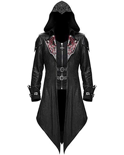 Devil Fashion Mens-Gotik Jacke Mantel mit Kapuze Schwarz Dieselpunk Assassins Creed - Schwarz, 3XL