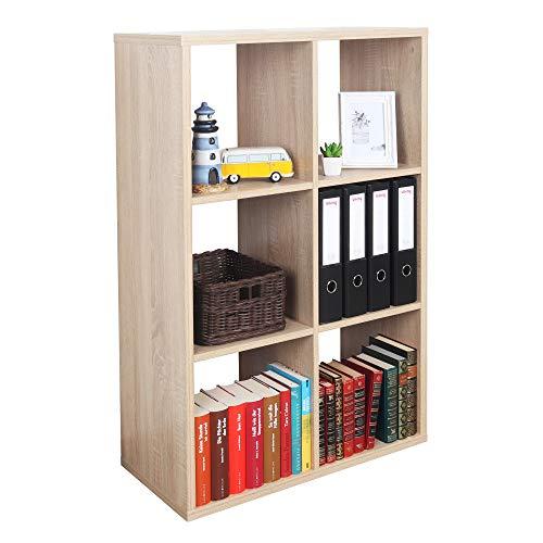 RICOO WM079-ES Estantería 107 x 73 x 33 cm Estante Librería Moderna Biblioteca Muebles de hogar Mueble almacenaje 3 Niveles Color Madera Roble marrón