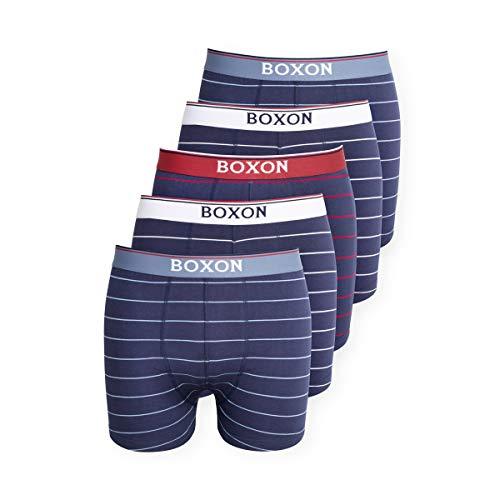 Boxon Boxershorts 5er Pack gestreift Retroshorts Baumwollunterhosen für Herren Marine weiß und rot L pflegeleicht, bequem und absolut stylisch