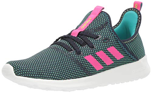 adidas Women's Cloudfoam Pure Running Shoe, Ink/Shock Pink/Yellow, 9.5 Medium US