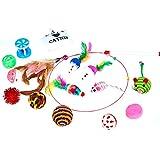 Aoten Juego de 16 juguetes de pared para gatos de colores, con cabezal de pluma y accesorio para palitos de gato