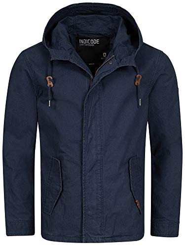 Indicode Herren Lough Jacke mit Kapuze aus 100% Baumwolle   Herrenjacke Markenjacke Outdoorjacke Baumwolljacke Kapuzenjacke Men's Jacket Übergangsjacke Freizeitjacke für Männer Navy S