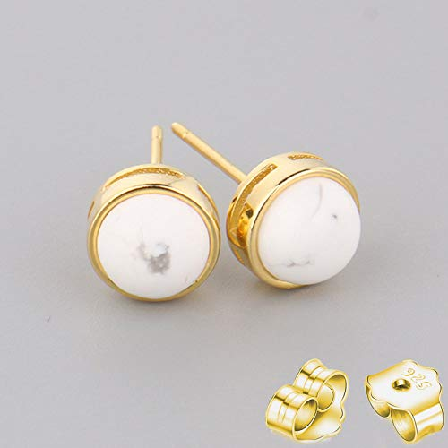 HUYV Stud Earrings For Woman,Fashion Natural Round White Turquoise Stone Golden Earrings 925 Silver Stud Earrings For Christmas Birthday Jewelry Gift Men Girls