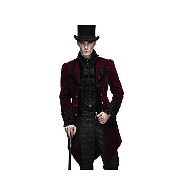 Devil Fashion Men Victorian Gothic Vintage 3-Piece Suit Tailcoat Shirts Pants Set 4