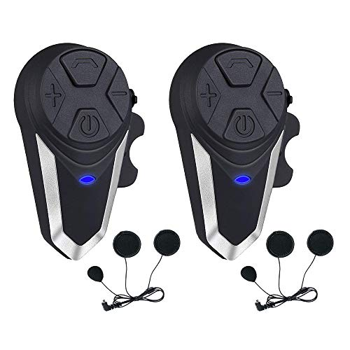Motorcycle Helmet Intercom, Fodsports BT-S3 1000m Motorcycle Bluetooth Headset Intercom Wireless Interphone to 2-3 Riders (Waterproof/Handsfree/Stereo Music/FM Radio/GPS/MP3/2 Pack Soft Microphone)