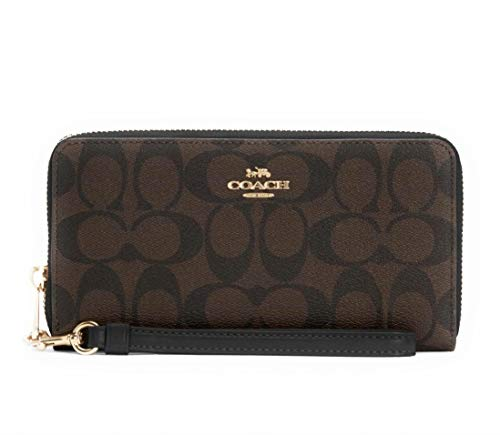 COACH Womens Long Zip Around Wallet In Signature Canvas With Strap (Brown - Black)