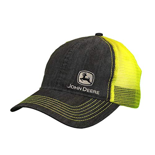 John Deere Tractors Men's Denim and Hi Vis Yellow Embroidered Hat, Denim/Hi...