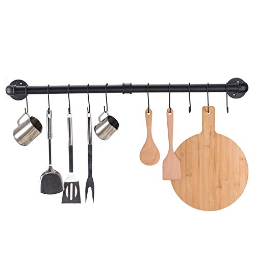 Pipe Pot Rack Wall Mounted 37 Inch Black Pipe Pot Rack Industrial Pipe Clothes Rack with 10 S Hooks Iron Metal Garment Bar for kitchen Closet Organization