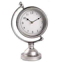 MODE HOME Sliver Metal Tabletop Clock Globe Desk Clock on Stand Decorative Mantel Clock