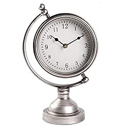 Vintage Sliver Metal Tabletop Clock on Stand, Globe Desk and Shelf Clock, Decorative Mantel Clock for Kitchen,Living Room - Battery Operated